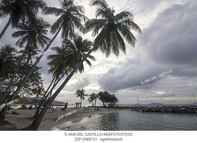 Dusk in Pointe du Bout Martinique island French Antilles Caribbean sea