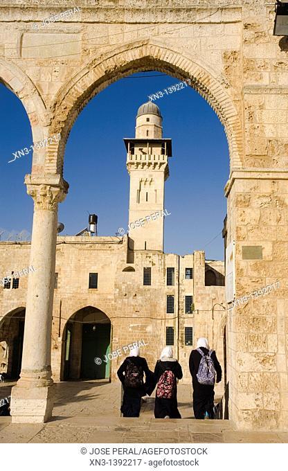 Muslim students, Temple Mount, Jerusalem, Israel