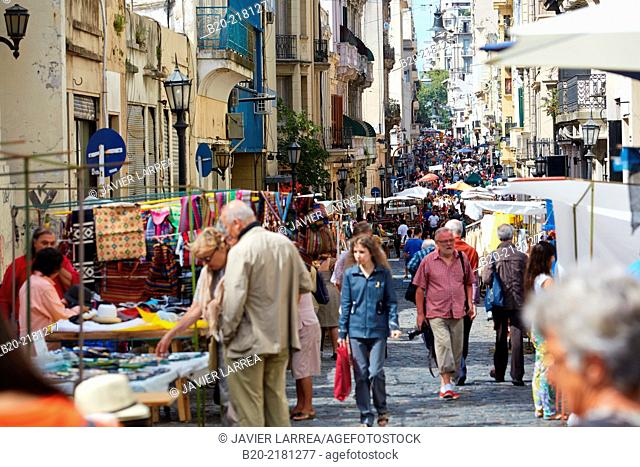 Sunday market. Defensa street. San Telmo. Buenos Aires. Argentina