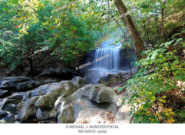 Tanyard Creek waterfall at Tanyard Creek Park in Bella Vista, Arkansas. USA
