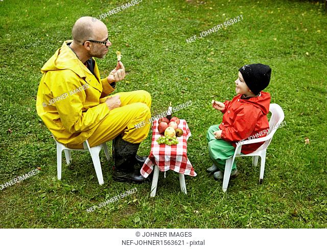 Father and son having picnic together