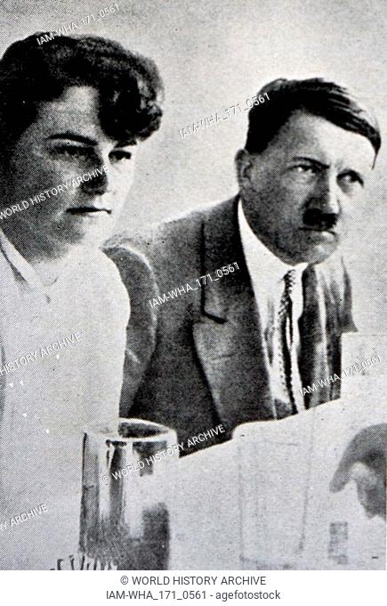 "Adolf Hitler (1889 - 1945); leader of the Nazi Party with Angela Maria """"Geli"""" Raubal (1908 - 1931); Adolf Hitler's half-niece"