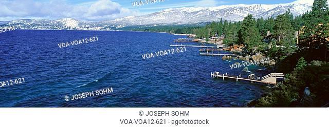 Boat Docks In Wintertime, Lake Tahoe, Nevada