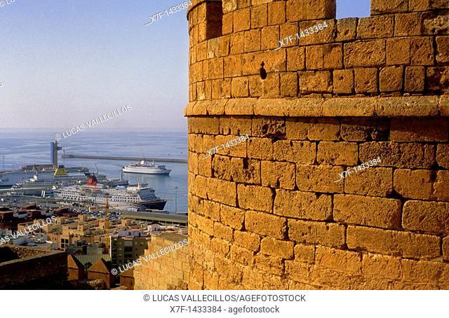 Port from the Alcazaba Almeria  Andalucia, Spain