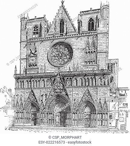 Lyon Cathedral in Lyon,France, vintage engraving