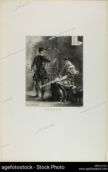 Hamlet and Ophelia, plate 5 from Hamlet - 1835–43 - Eugène Delacroix French, 1798-1863 - Artist: Eugène Delacroix, Origin: France, Date: 1835–1843