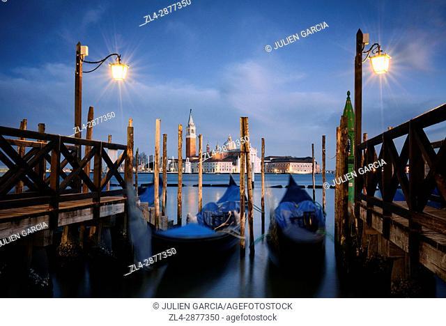 Italy, Veneto, Venice, listed as World Heritage by UNESCO, Saint Mark's Square (Piazza San Marco), gondolas at Riva degli Schiavoni docks