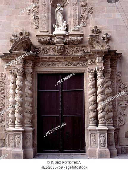 Solomonic columns in the door of the parish church of Santa Maria in Caldas de Montbui