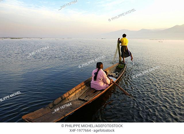 Myanmar (Burma). Shan province. Fisher on the Inle lake