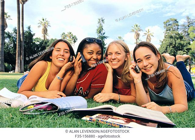 Happy girls on cell phones