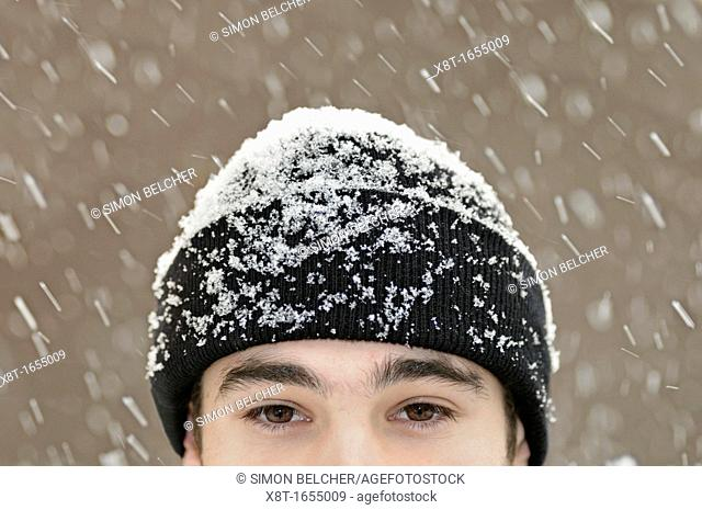 Man Outside in Snow, Close Up