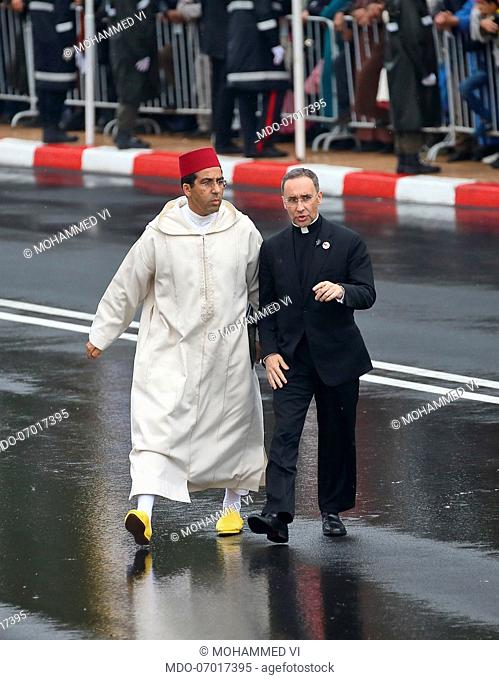 Pope Francis is welcomed by the King of Morocco Mohammed VI for the Welcoming ceremony for the esplanade of the Hassan II Mosque