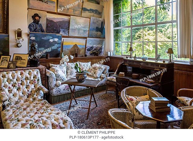 Living room / studio in the house of Claude Monet, painter and founder of French Impressionist painting at Giverny, Eure department, Normandy, France