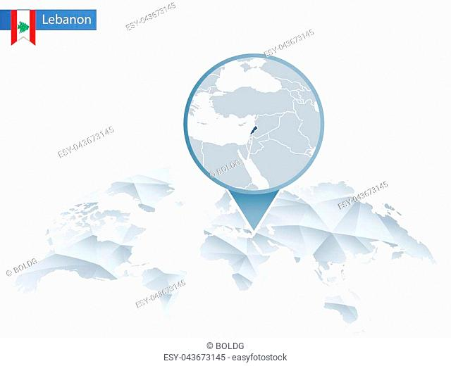 Abstract rounded World Map with pinned detailed Lebanon map. Vector Illustration