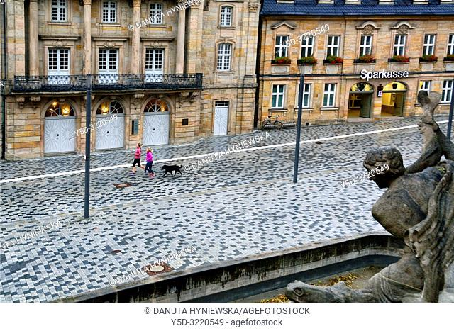 Opernstrasse, Margravial Opera House left, Sparkasse right, statue is a part of Wittelsbacher fountain , historic part of Bayreuth, Upper Franconia, Bavaria