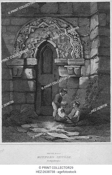 'South Door - Mitford Church, Northumberland', 1814. Artist: John Greig