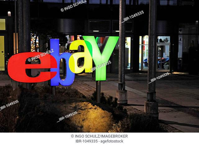 Illuminated ebay logo at night, at the main entrance of the German headquarters in Kleinmachnow near Berlin, Germany, Europe