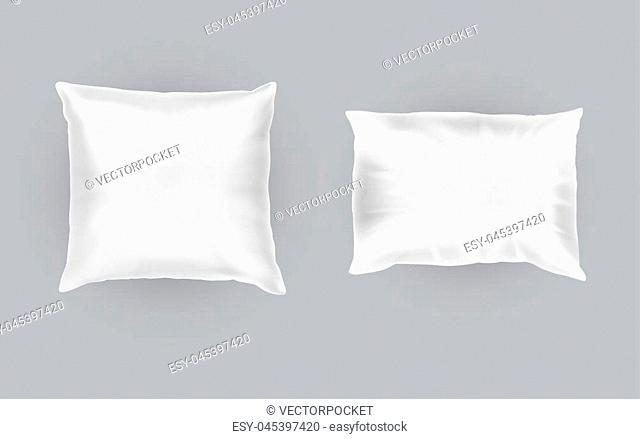 Vector realistic set of two white pillows, square and rectangular, soft and clean, top view isolated on gray background. Object for sweet dreams in bedroom