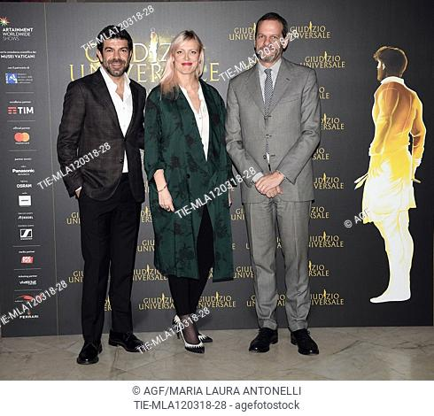 Pierfrancesco Favino , Lulu Helbek, Marco Balich  during 'Giudizio Universale' photocall, Rome, Italy - 12 Mar 2018