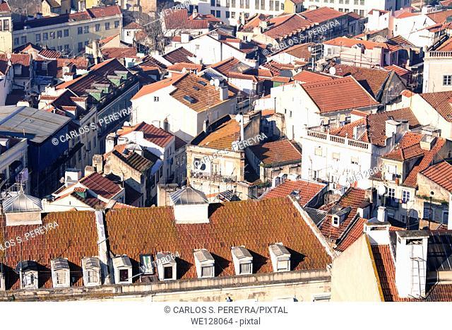 Overlooking Lisbon from Sao Jorge Castle, Alfama, Lisbon, Portugal, Europe