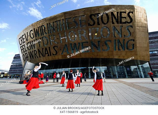 Morris dancers outside the Wales Millennium centre in Cardiff