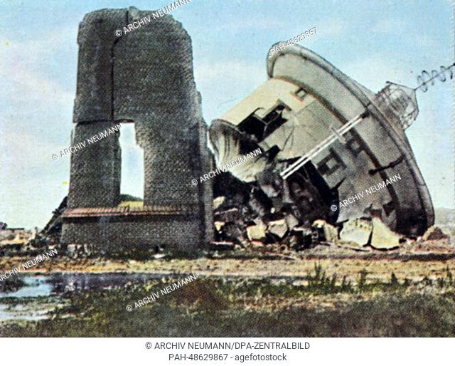 A contemporary German colorized propaganda photo shows a destroyed water tower in Memel (Klaipeda, Lithuania), date unknown (1914-1918)