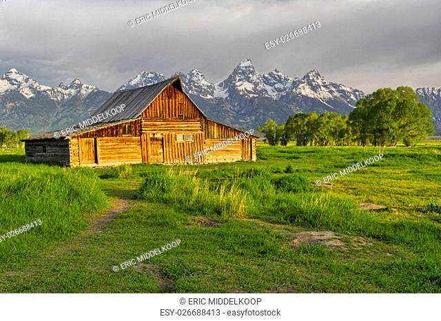 Mormon Row is a line of homestead complexes along the Jackson-Moran Road near the southeast corner of Grand Teton National Park