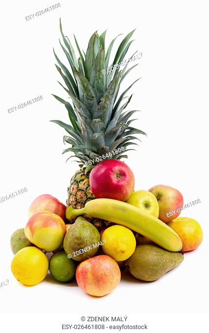 Pineapple and other fruit isolated on white backgroung, banana apples limet and pear