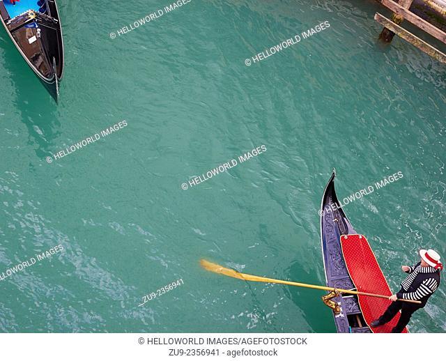 Two gondolas view from above, Venice, Veneto, Italy, Europe