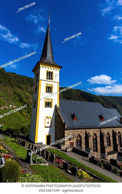 Picturesque St. Laurentius Church (St. Lawrence's Church) in Bremm, Rhineland-Palatinate, Germany, Europe