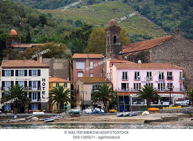 France, Languedoc-Roussillon, Pyrennes-Orientales Department, Vermillion Coast Area, Collioure, waterfront houses