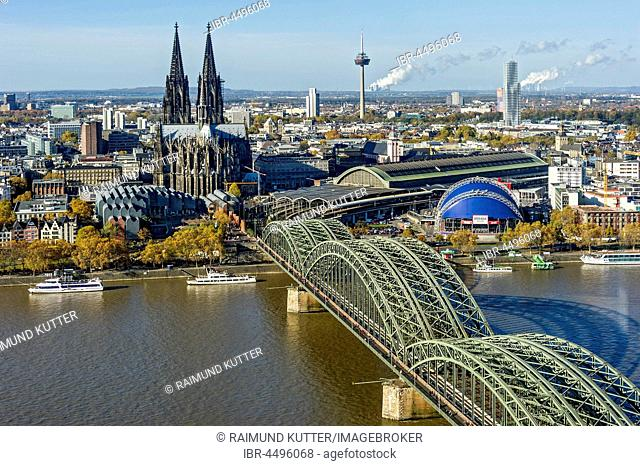 View over the river Rhine, Cologne's historic centre, Museum Ludwig, Cologne Cathedral, Hohenzollern Bridge, Central Station, Musical Dome