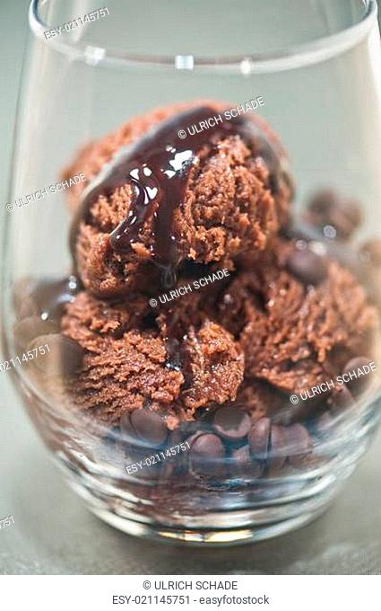 Chocolate ice cream in a glass