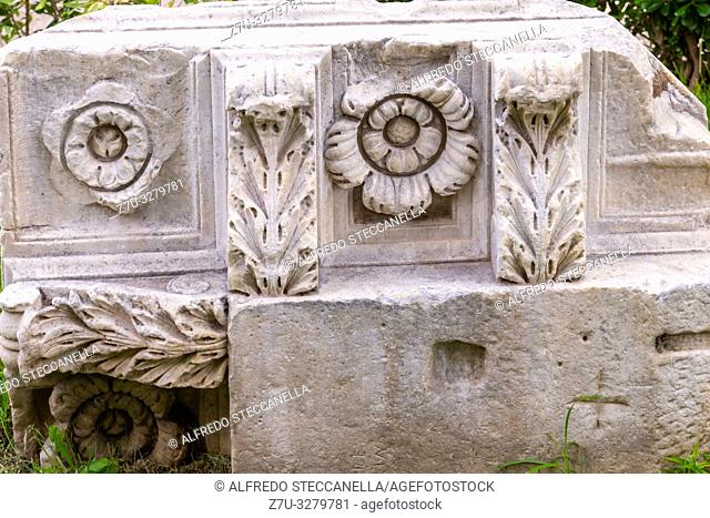 Detail of roman ruins of the Roman Forum. Roman Forumis a rectangular forum (plaza) surrounded by the ruins of several important ancient government buildings at...