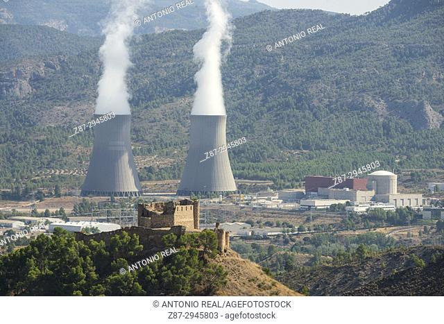 Jalance Castle and Cofrentes Nuclear Power Station. Valle de Ayora. Valencian Community. Spain