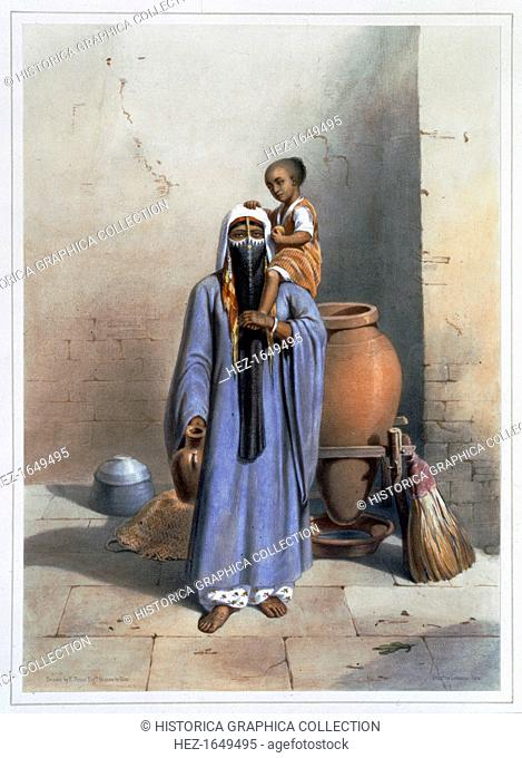 Fellah woman and child, 1848. A fellah is a peasant farmer or agricultural labourer in Egypt and the Middle East. Illustration from The Valley of the Nile by...