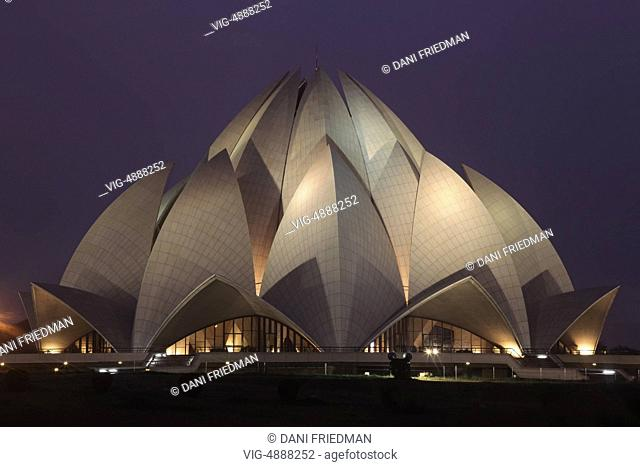 The Baha'i House of Worship (popularly known as the Lotus Temple) in New Delhi, India, was completed in 1986 by architect Fariborz Sahba