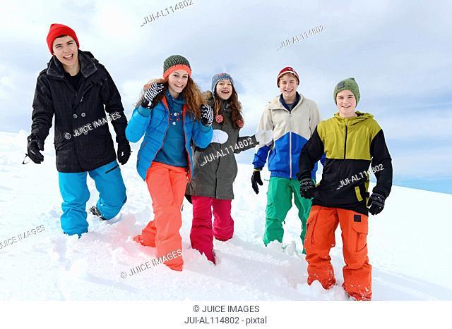 Portrait of teenagers on skiing holiday, Tirol, Austria, Europe