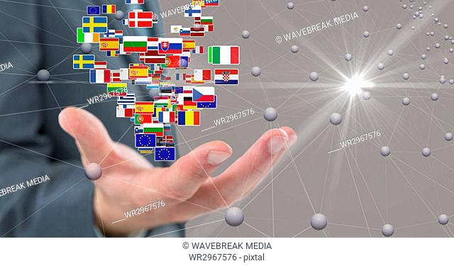 Digital composite image of business hand with flags and connecting dots