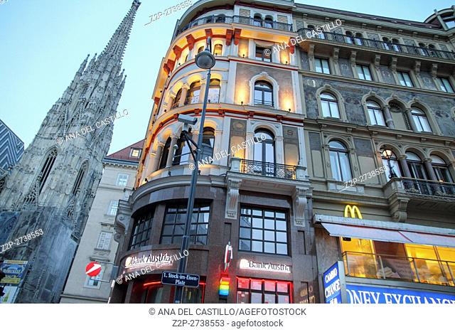 VIENNA AUSTRIA-JULY 4: Ten thousands of visitors from abroad congest the city centre of Vienna between the Stephansdom and the Hofburg on July 4, 2014 in Vienna