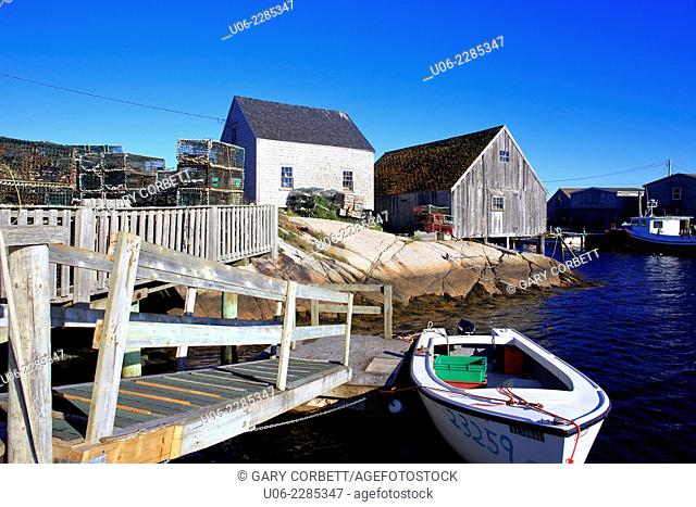 Boats, wharves and shacks at Peggy's Cove, Nova Scotia, Canada