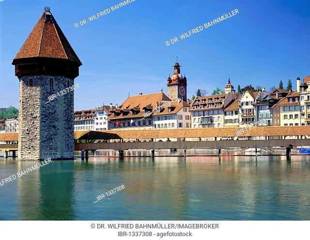 Kapellbruecke bridge and water tower, Luzern, Canton of Lucerne, Switzerland, Europe
