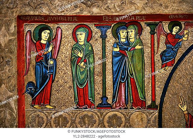 Romanesque Altar Front of Cardet. . Thirteenth century paint and metal relief on wood from a church of Santa Maria of Cardet, Vall de Boi, Alta Ribagorca, Spain
