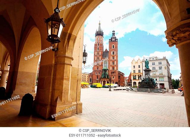 Saint Mary's Basilica and Rynek Glowny in Krakow