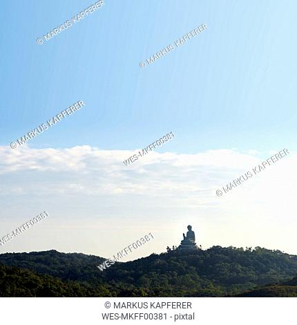 China, Hong Kong, Lantau Island, Ngong Ping, view to Tian Tan Buddha