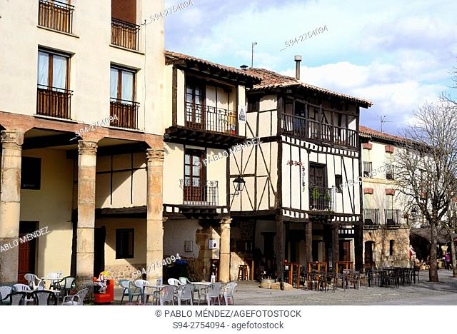 Framework houses in a square of Covarrubias, Burgos, España