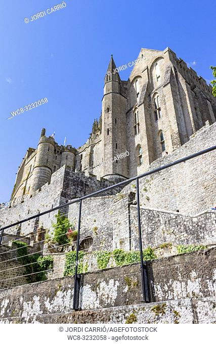 LE MONT SAINT-MICHEL, NORMANDY, FRANCE: View of the towers of the Abbey of Mont Saint Michel