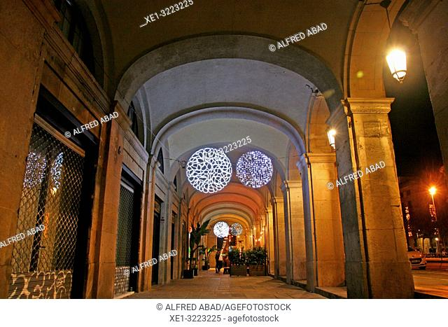 Christmas illumination, arcades of the Passeig d'Isabel II, Barcelona, Catalonia, Spain