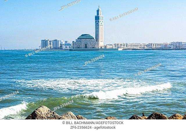 Casablanca Morocco exterior famous Hassen II Mosque largest mosque in Morocco and 7th largest in world architecture opened in 1963