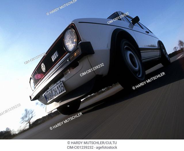 Car, VW, Volkswagen, Golf GTI MK1, white, model year 1977, 1970s, seventies, old car, sedan, standing, diagonal front , below, front view